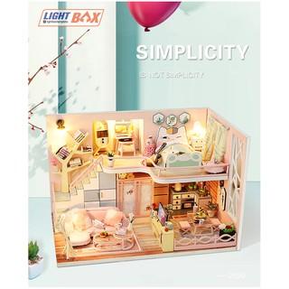 Nhà búp bê Tự làm bằng gỗ SIMPLICITY [Nhà có nội thất & đèn led ] Tặng CÓT NHẠC + KHUNG MICA + dụng cụ
