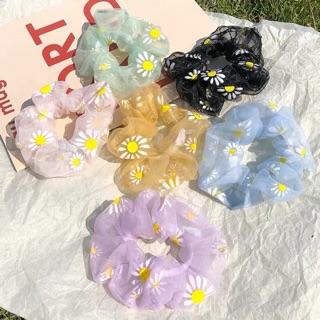 Buộc tóc, cột tóc, túm tóc scrunchies hoa cúc ( giao màu ngẫu nhiên )