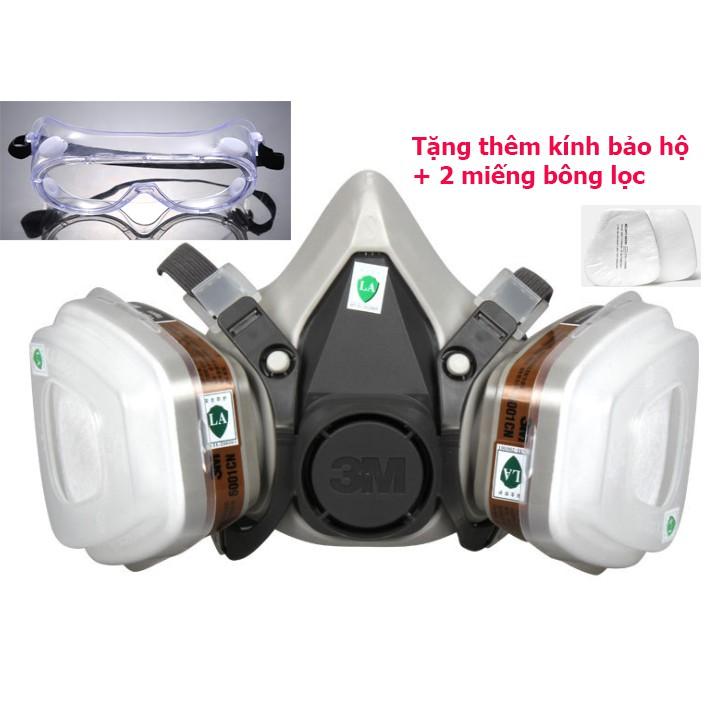 Xả kho, mặt nạ bảo hộ chống độc trọn bộ + tặng kèm (kính mắt và 2 bông lọc)