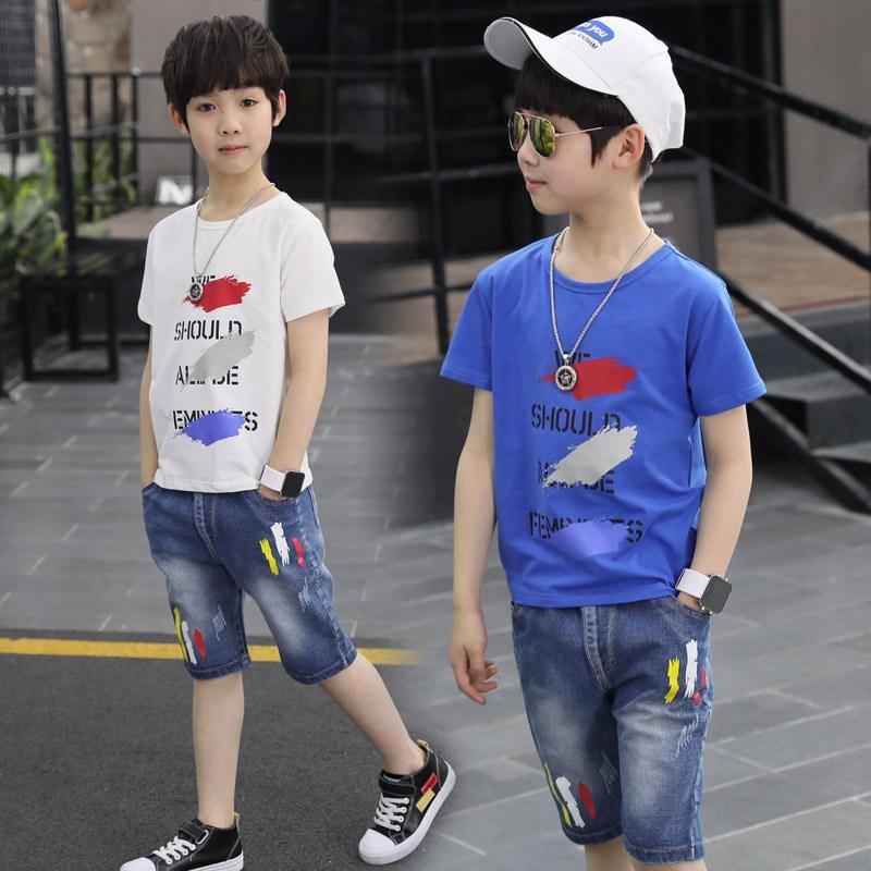 set áo thun ngắn tay cổ tròn+quần short jeans thời trang cho bé trai