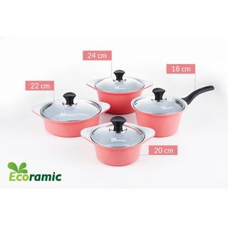 ECORAMIC (Dùng được bếp từ) -Bộ 4 nồi ceramic nồi 1 tay cầm 18cm, Nồi 2 tay cầm 20-22-24cm tặng 1 cặp nhấc nồi sillicon thumbnail