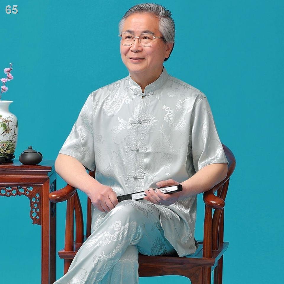 Tang suit Nam trung niên và cao tuổi ngắn tay mùa hè lụa băng Bố mặc bộ đồ kiểu Quốc của giới áo sơ mi mỏng ông nộ