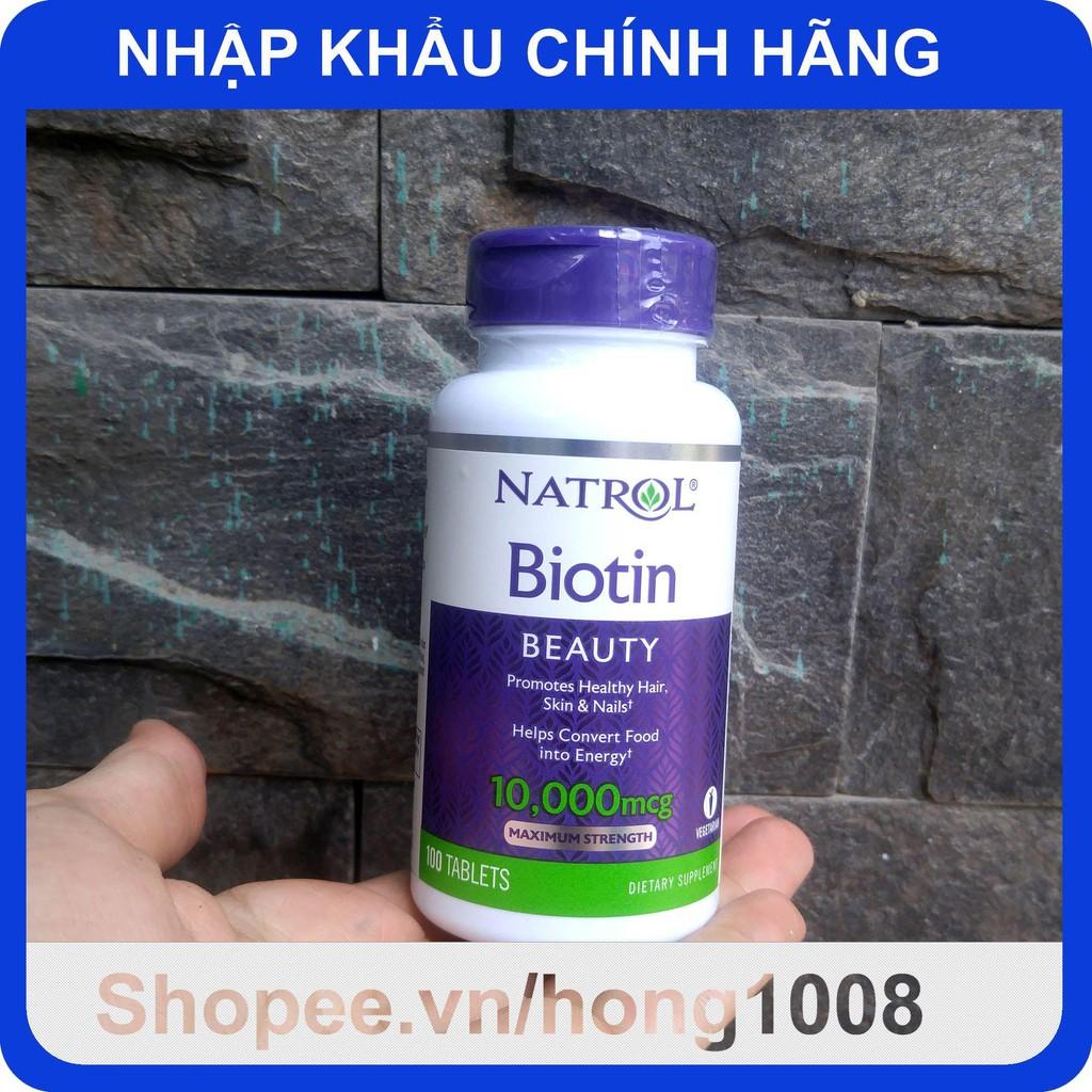 [Mã COSHOT11 hoàn 8% xu đơn 250K] Viên Uống Natrol Biotin 10000 Mcg 100 Viên Của Mỹ - Biotin 10.000 mcg