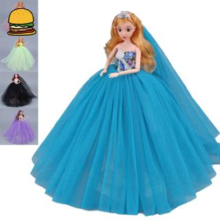 Elegant Fluffy Wedding Dress Doll Princess Party Clothes with Veil