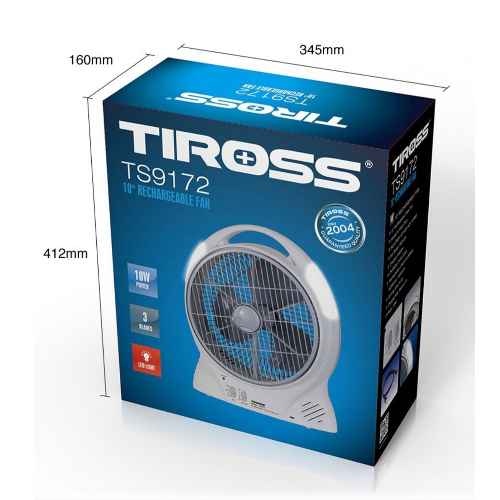 Quạt sạc điện, quạt tích điện Tiross TS-9172 - 6000mAh - Có đèn LED