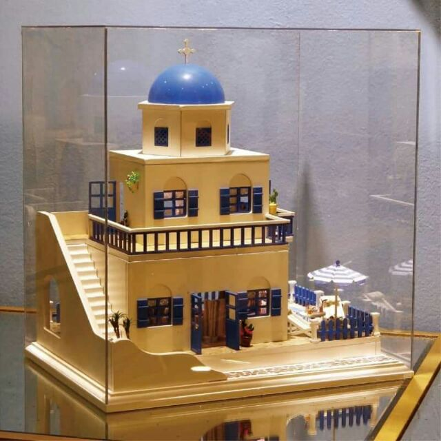 Mô hình nhà gỗ lắp ráp DIY - Kèm mica và nhạc - A026 Santorini