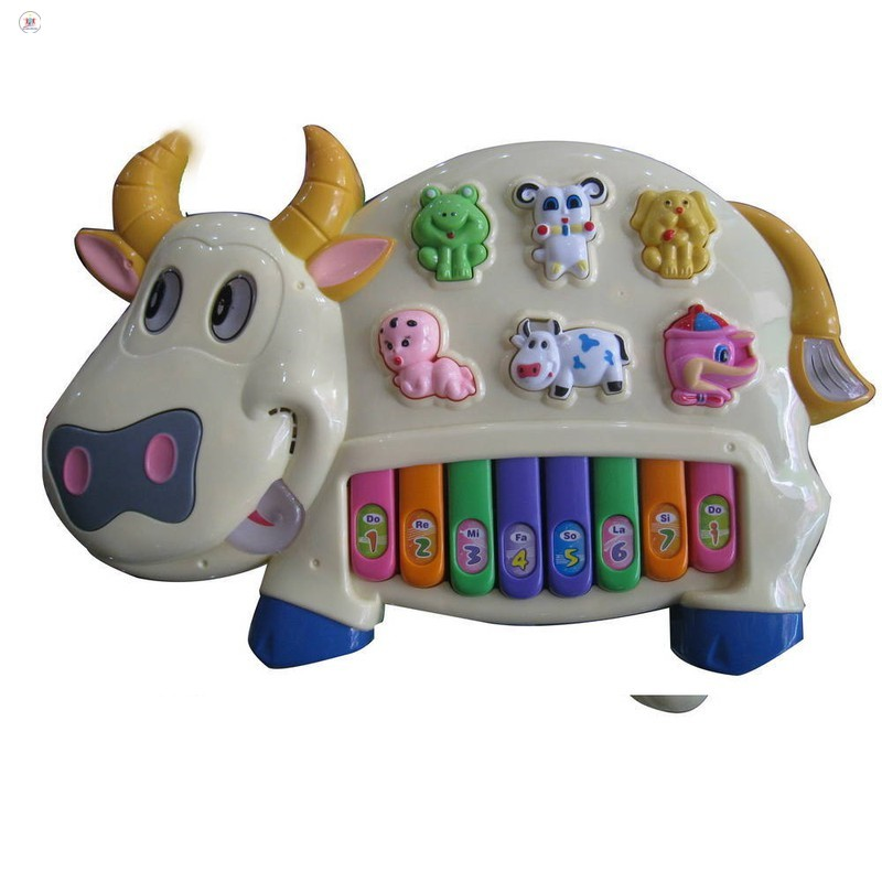 Đồ chơi đàn piano hình chú bò sữa cho bé xanh GIÁ RẺ NHẤT