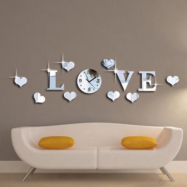 """🔝HOT! Đồng hồ treo tường Acrylic mặt gương kiểu chữ """"LOVE"""" 3D"""