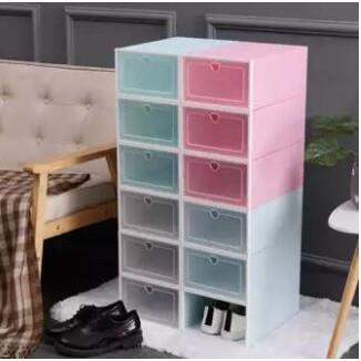 Hộp đựng giày lắp ráp nhựa PP nắp nhựa cứng trong suốt 2 kích thước lựa chọn dành cho cả nam và nữ có thể lắp thành tủ