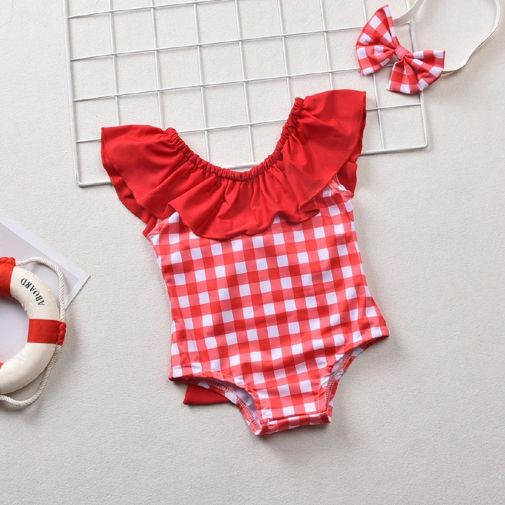 Mặc gì đẹp: Tắm biển vui với Bộ đồ tắm một mảnh phối sọc caro dễ thương cho bé gái