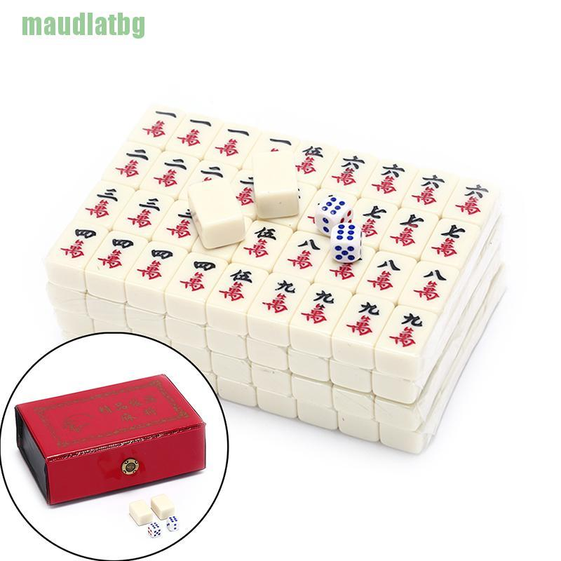 ♦2.2×1.5×1.1cm Mah-Jong Set Multi-color Portable Vintage Mini Mahjong with box