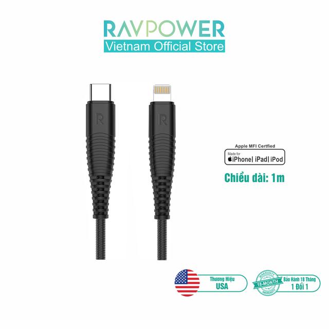Dây Cáp Sạc Lightning Cho iPhone, iPad RAVPower 1m (Type-C To Lightning) Chuẩn MFI - RP-CB020 - Phân Phối Chính