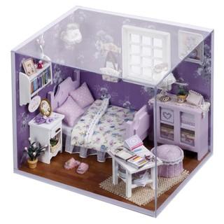 FREESHIP ĐƠN 99K_Bộ lắp ghép nhà búp bê Cute Room – phòng ngủ màu tím xinh xinh (có đầy đủ mica che bụi)