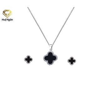 Bộ trang sức dây chuyền và bông tai bạc Ý 925 Huệ Ngân - Cỏ bốn lá may mắn PP1511-RYE140928