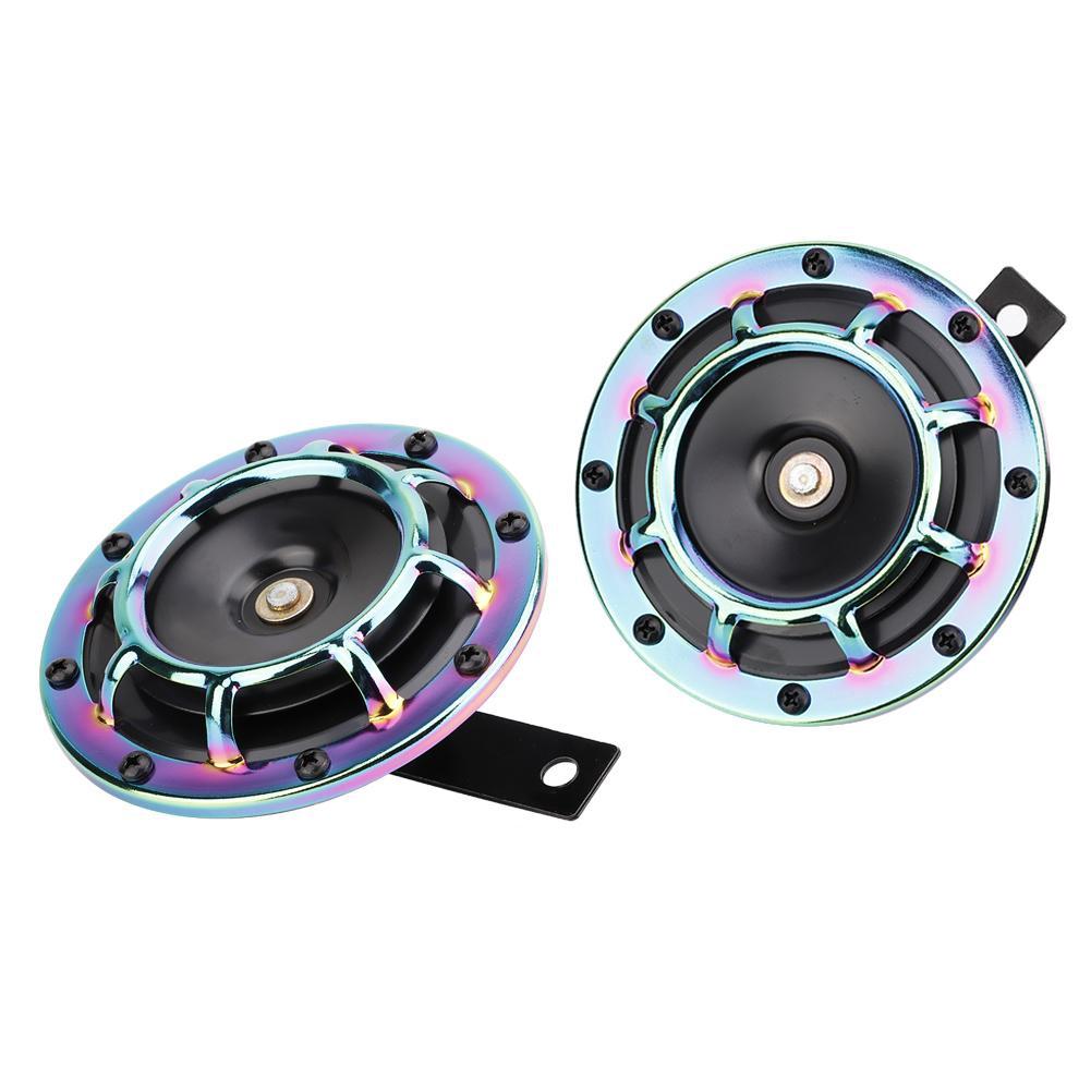 1 cặp còi xe vỏ kim loại nhiều màu điện áp 12/24V đường kính 123mm