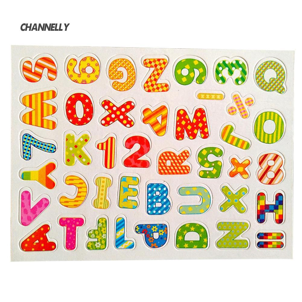 ■Cy Colorful Magnetic Wooden Letters Numbers Sticker DIY Refrigerator Decoration