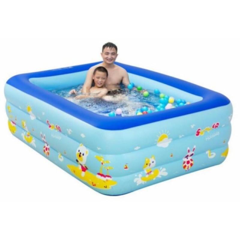 Bể bơi 3 tầng, 210 x 135 x 55 cm cho cả nhà cùng quẩy