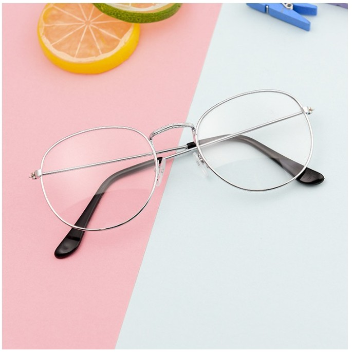 Mắt kính Nam Nữ Khung tròn kim loại Thời trang Đơn giản Glasses 1Pcs