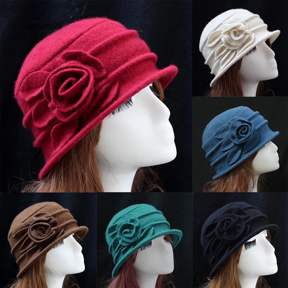 ღues_Fashion Women Wool Church Cloche Flapper Hat Lady Bucket Winter Flower Cap