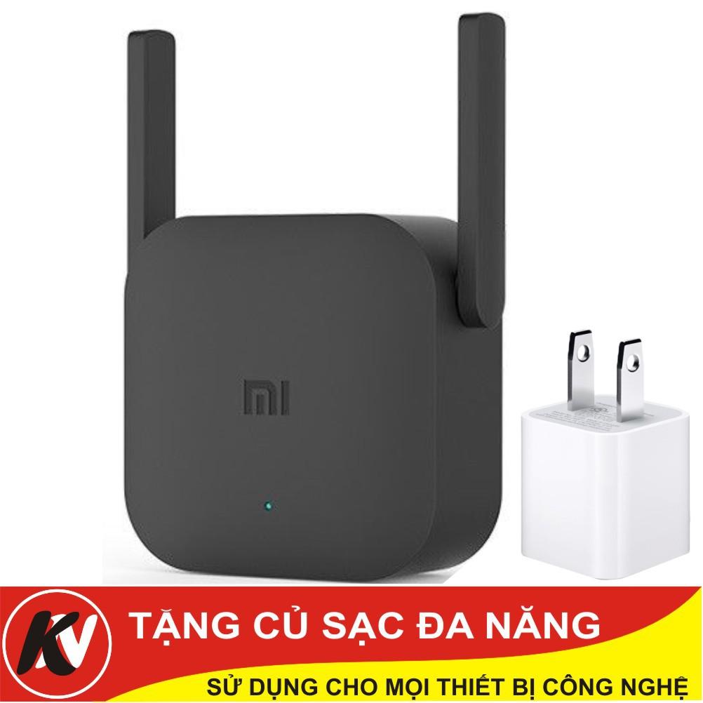 Combo Kích sóng Wifi không dây Xiaomi Repeater Pro (Đen) - Hàng chính hãng + Củ sạc đa năng