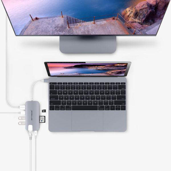 USB-C Hub 8 trong 1 dùng cho Macbook - Silver