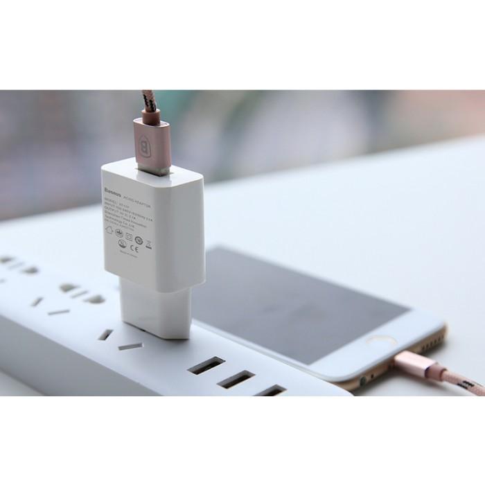 Cốc sạc Baseus Letour Dual U Charger (EU) hỗ trợ sạc nhanh 2.1A  cổng USB cho Smart phone - Table