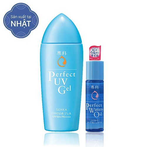 Kem chống nắng Senka Perfect UV Gel 80g + Dầu tẩy trang da dầu Senka Perfect Watery Oil 35ml - TUSK0