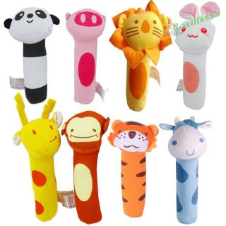 [willss] Baby Colorful Cute Animal Head IQ Development Handled Cloth Toy WF