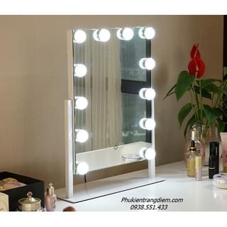 Gương Trang Điểm Đèn LED Cảm Ứng Để Bàn - Gương Soi Có Đèn Để Bàn Trang Điểm