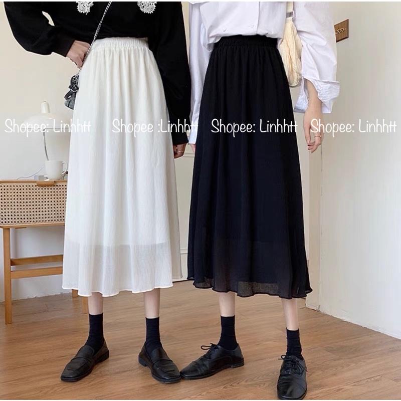 Chân váy voan dài trơn BASIC phong cách Hàn Quốc
