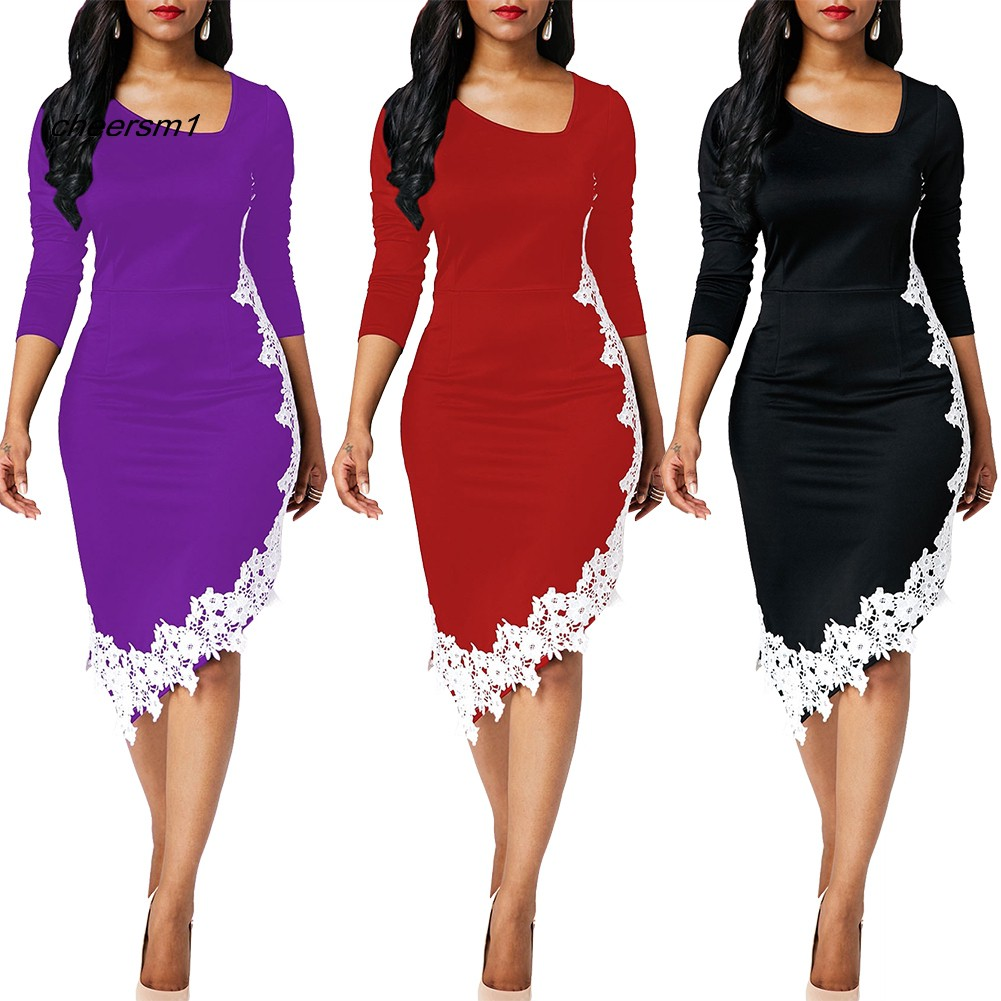 CHE♥Plus Size 3/4 Sleeve Lace Patchwork Irregular Hem Bodycon Pencil Dress