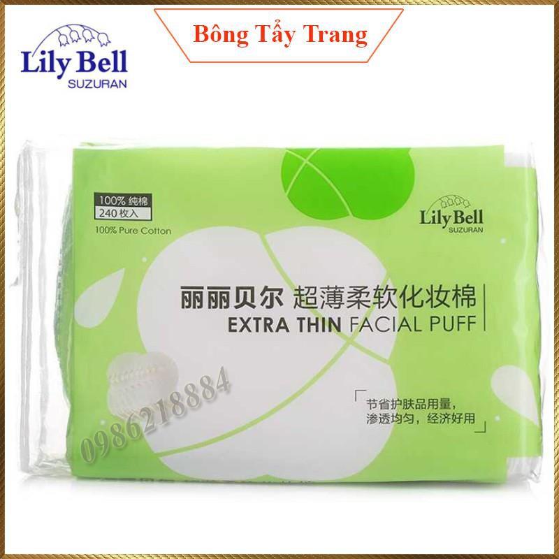 Bông tẩy trang Lily Bell vỏ xanh Extra Thin 240 miếng LBE24