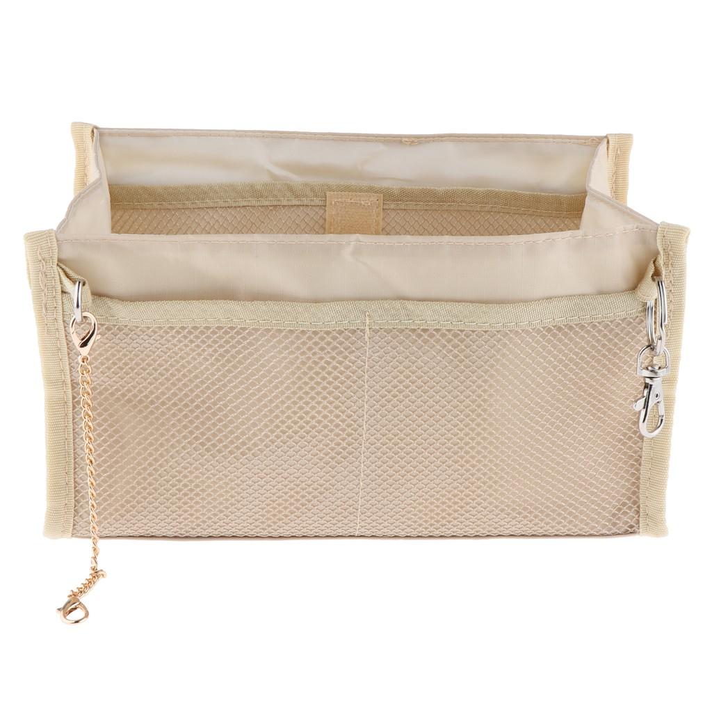 Inner Multi-pocket Nylon Insert Organizer Bag in Bag for Handbag Khaki