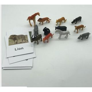 Học liệu Montessori – Bộ ghép hình động vật và thẻ