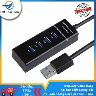 Thiết bị chia 4 cổng tốc độ truyền tải cao USB3.0 HUB sạc pin nhanh đen