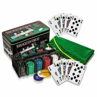Bộ 200 Chip Poker có số (Phỉnh Poker) kèm thảm hàng nhập khẩu Texas Hold em Blackjack ( có ảnh thật ) thumbnail