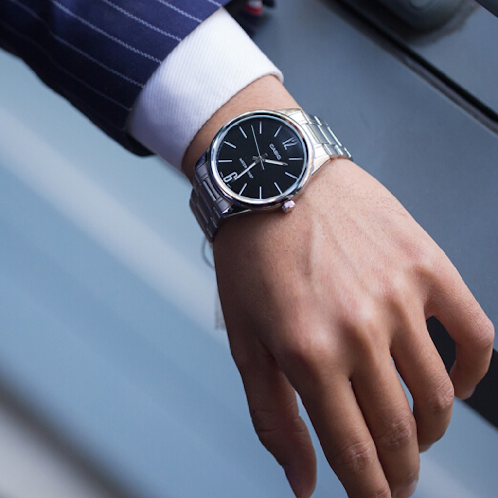 Đồng hồ nam Casio chính hãng MTP-V005, dây kim loại