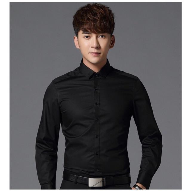 áo sơ mi nam Đen không nhăn SMT001-Dáng ôm Hàn Quốc