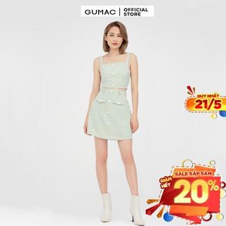 [Mã WABRGU155 giảm 15% tối đa 50k đơn 199k] Chân váy nữ chữ A phối nắp túi GUMAC màu xanh xinh xắn VB479 thumbnail