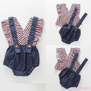H-C★2PCS Fashion Kid Baby Girl Overalls Pants Jumpsuit Stripe Sleeveless Top Outfit Cute New