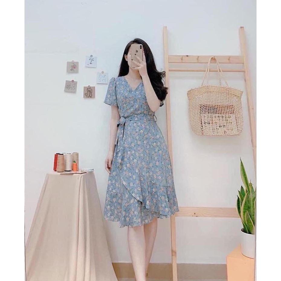 Đầm Nữ Quây Tà Chéo Chân Váy , Họa Tiết Hoa Nhí Cổ Chữ V Kèm Cột Đai Eo  Thời Trang- Winchois   Shopee Việt Nam