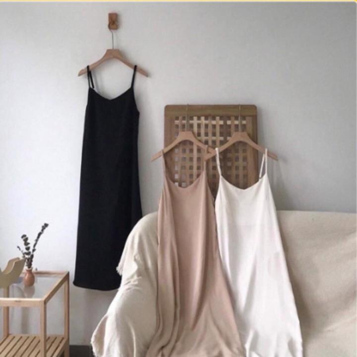 Váy 2 dây, đầm xuông - váy chất đũi lụa trơn basic nữ Zinti