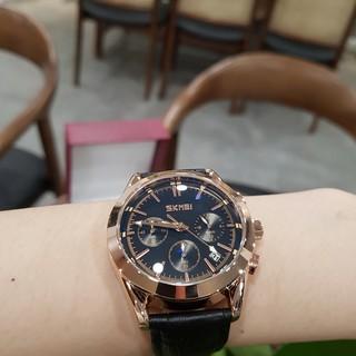 Đồng hồ nam Skmei dây da chạy full 6 kim chính hãng chống nước Tony Watch 68
