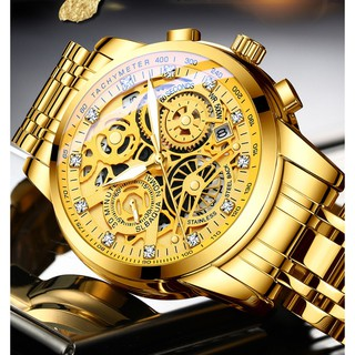 Đồng hồ nam dây thép giả cơ siêu đẹp RZY068 (fullbox, tặng pin) thumbnail