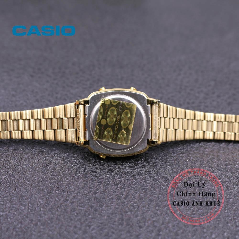Đồng hồ điện tử nữ Casio LA670WGA-9DF dây kim loại
