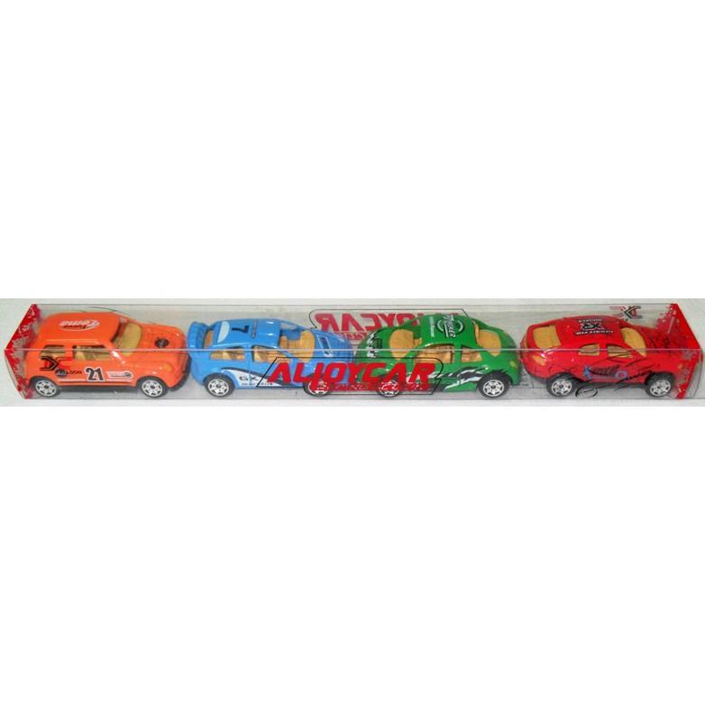 Bộ 4 xe đồ chơi bằng sắt, xe đua nhỏ 7cm, 4 kiểu 4 màu khác nhau. KX103A-1