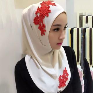 LSF-Lady Lace Embroidery 3D Flower Turban Scarf Muslim Hijab Shawl Wrap