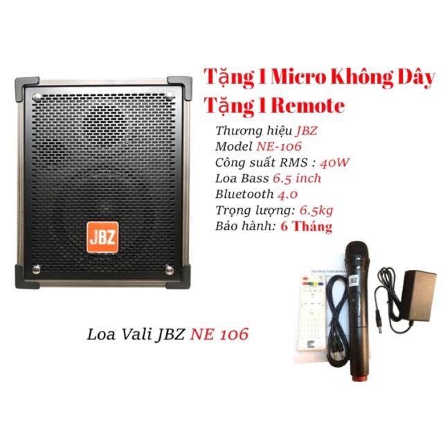 [Mã ELHAMS12 giảm 8% tối đa 300k] Loa kéo di động JBZ NE-106, loa karaoke 2 tấc, công suất max 120W