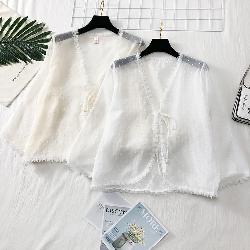 Áo mỏng khoác ngoài áo voan trắng nhẹ nhàng tiểu thư