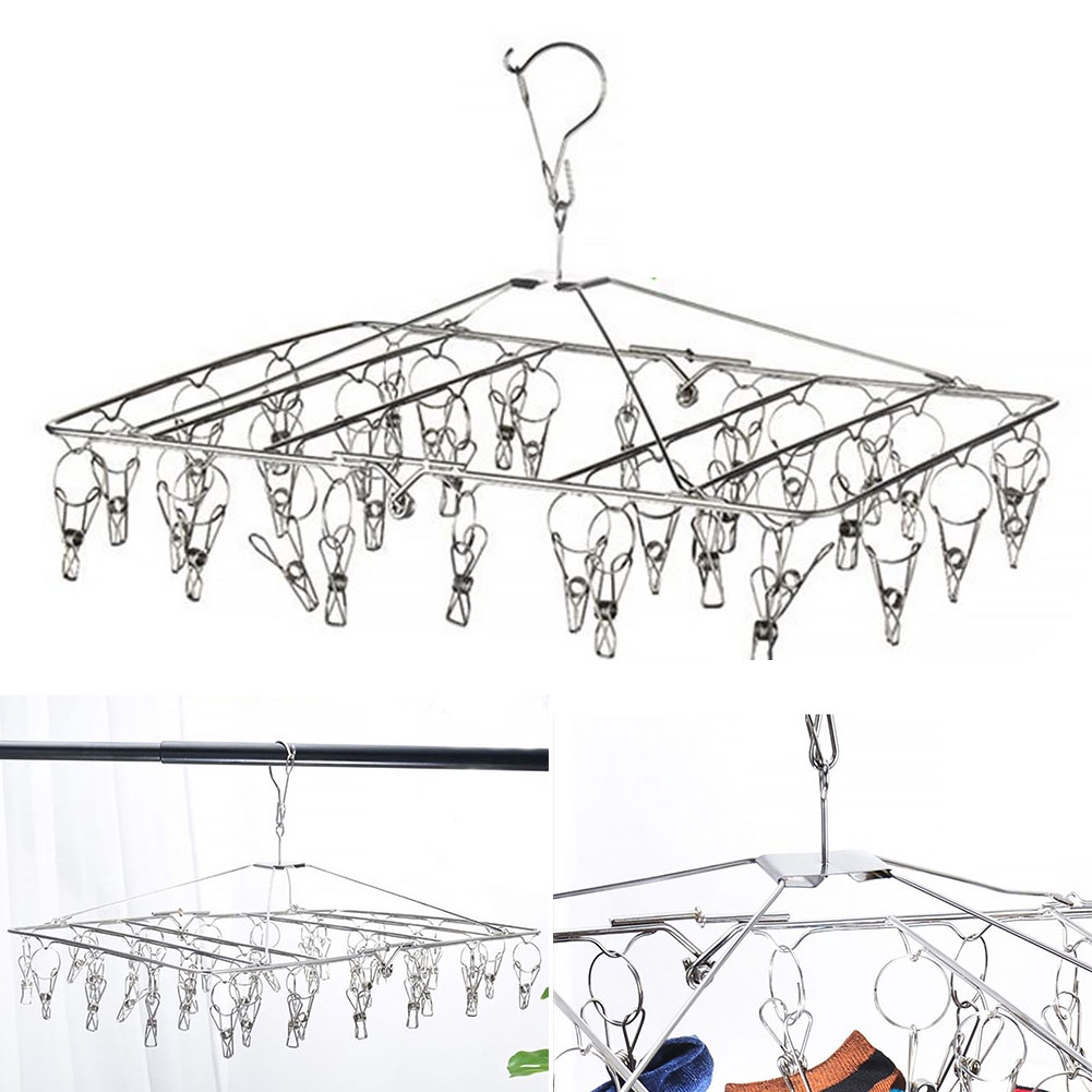 30 Clips Stainless Steel Underwear Foldable Multifunctional Rack Shelf Drying Socks Hanger